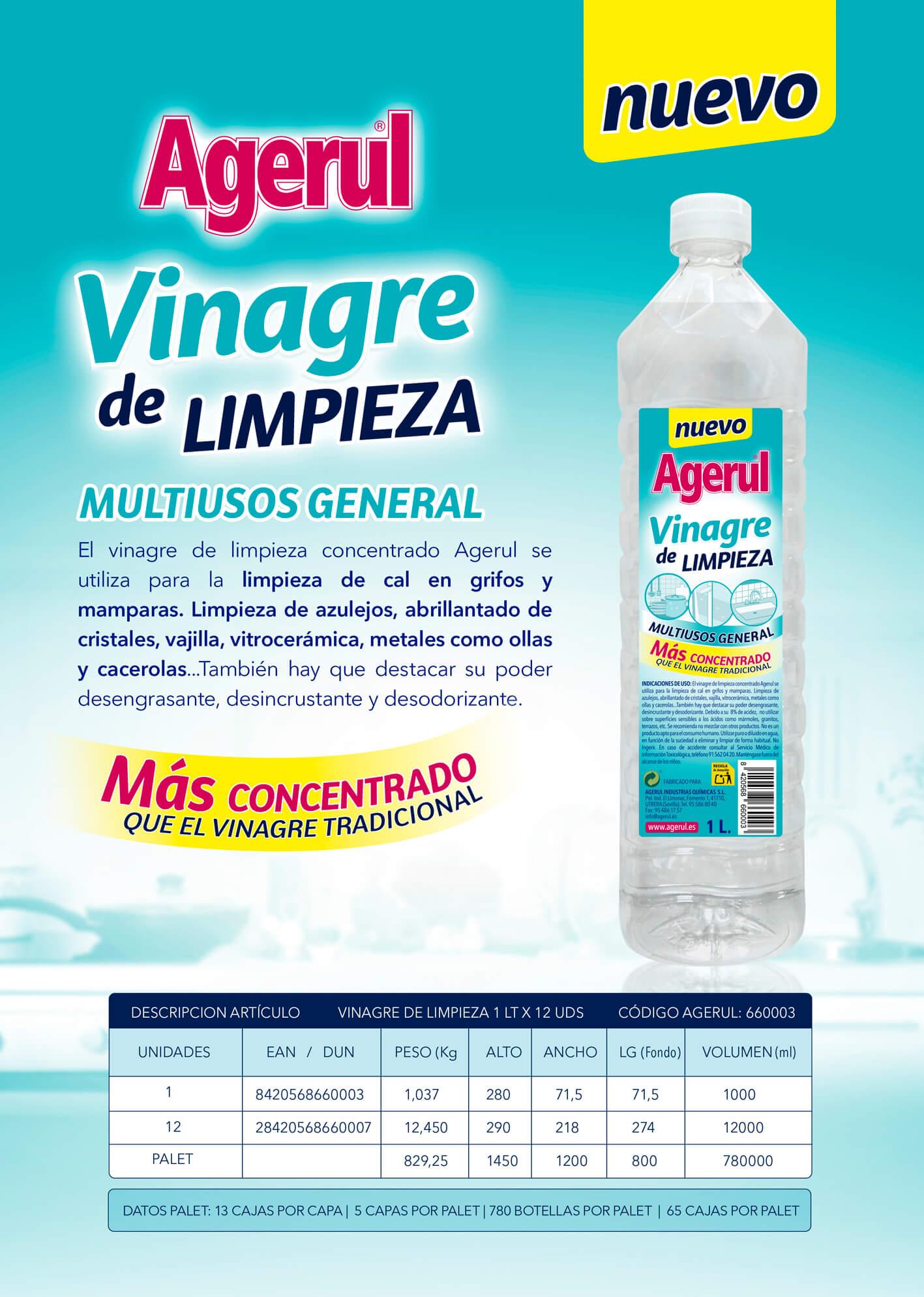 VINAGRE DE LIMPIEZA 1Lx 12 udes.